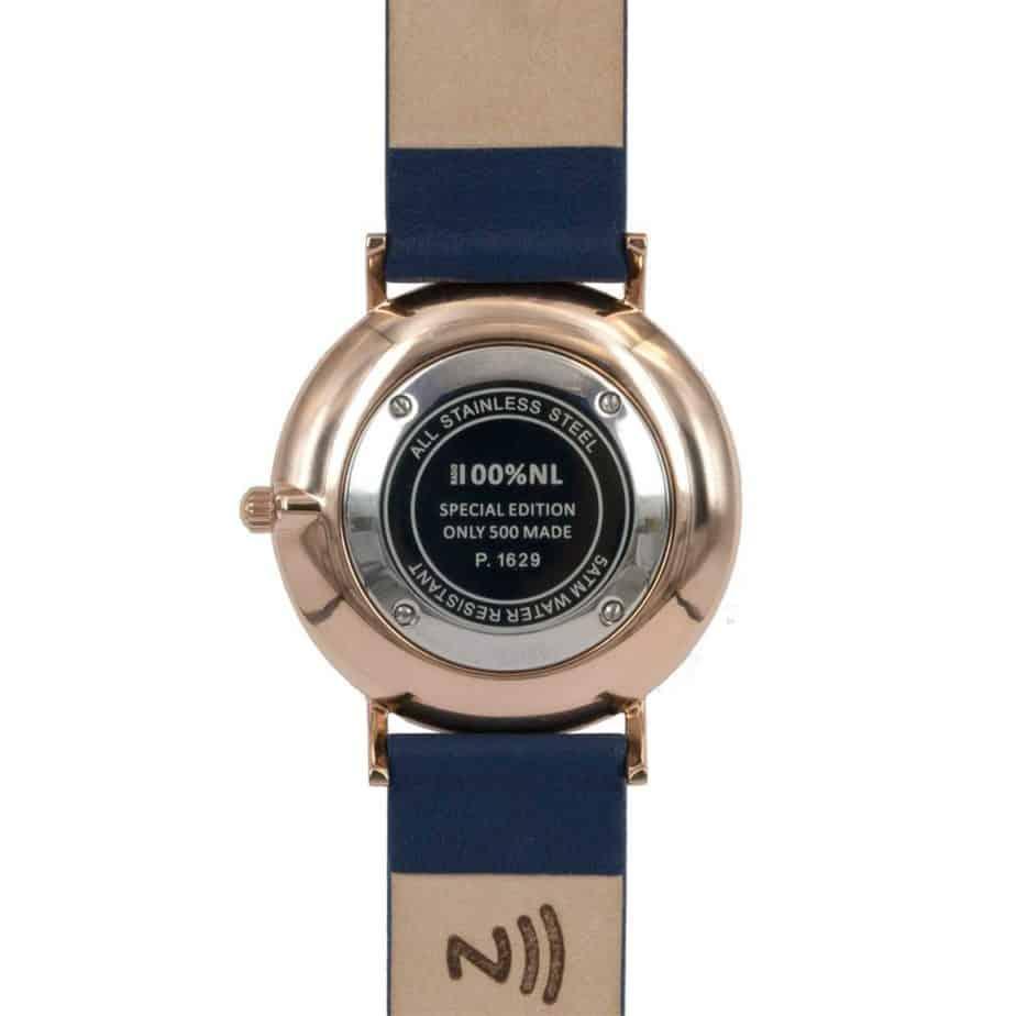 prisma Radio 100%NL horloge blauw prisma horloges special edition P1629-607G Prisma 100NL blauw horloge online kopen achterkant