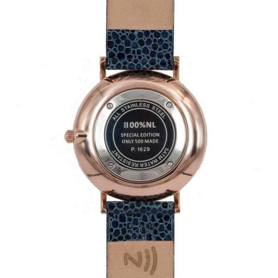 prisma 100%NL horloge blauw prisma horloges special edition P1629-636G Prisma 100NL blauw horloge online kopen achterkant