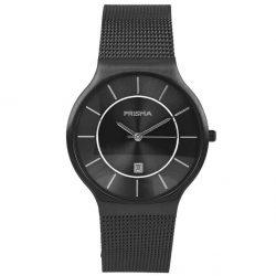 PRISMA P1802 HORLOGE HEREN ZWART EDELSTAAL Nederlands horlogemerk