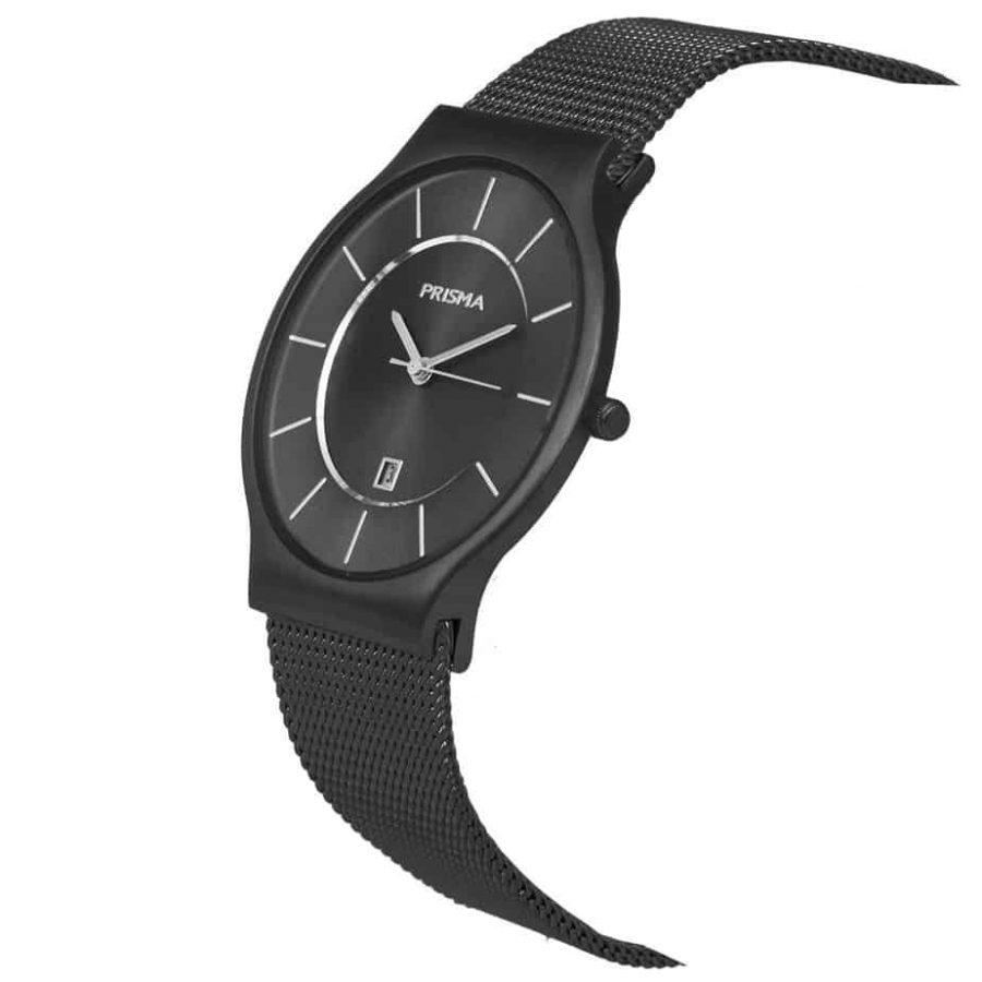 PRISMA P1802 HORLOGE HEREN ZWART EDELSTAAL dutch watch brand