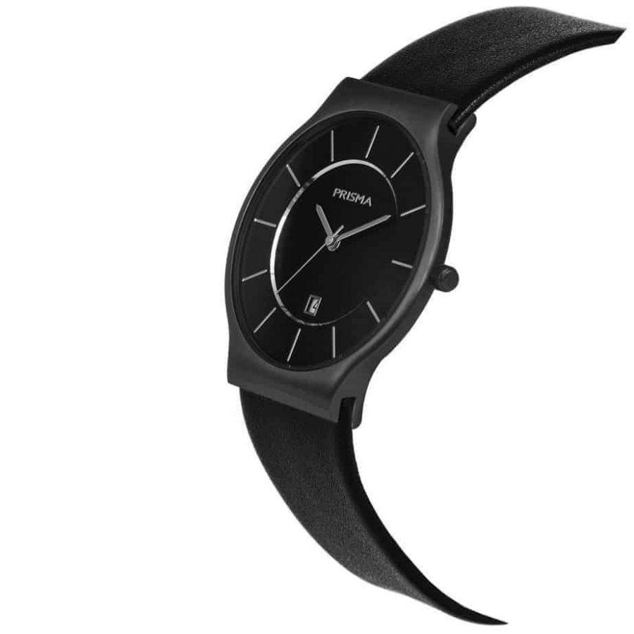 PRISMA P1804 HORLOGE HEREN ZWART EDELSTAAL dutch watch brand
