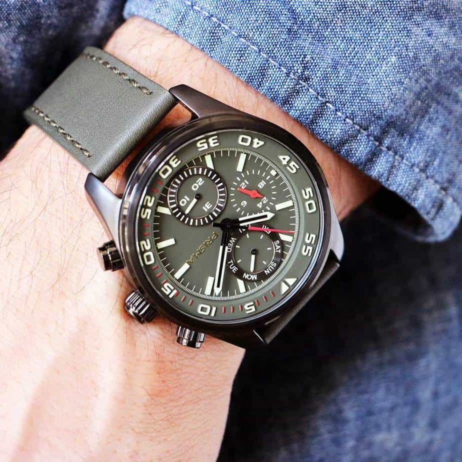 brown black product date l leather military pilot s watches watch dial chronograph men zoom aviator mens waterresist davis strap