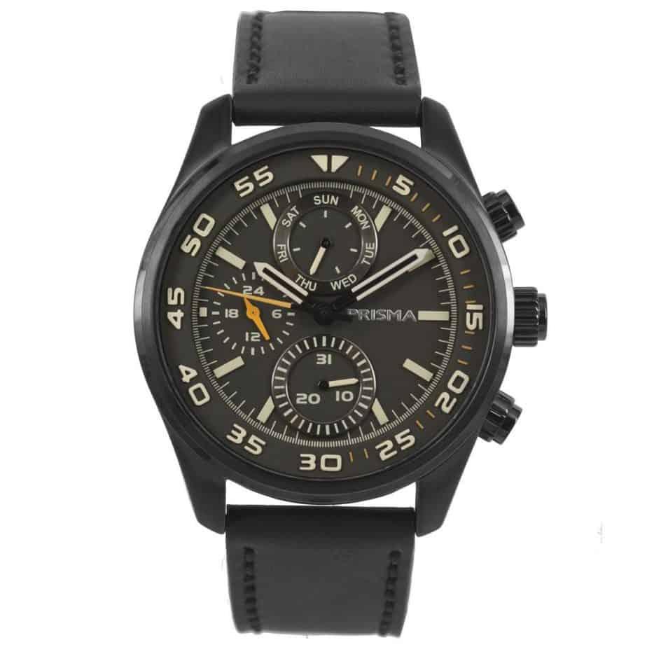 Prisma-P1825-heren-horloge-chronograaf-zwart-leer-l