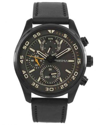 Prisma P1825 heren horloge chronograaf zwart leer