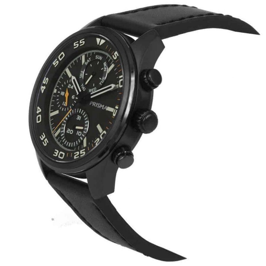 Prisma-P1825-heren-horloge-chronograaf-zwart-leer-schuin