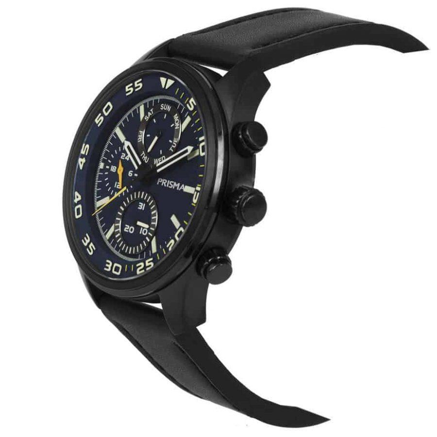 Prisma-P1826-heren-horloge-chronograaf-zwart-leer-schuin