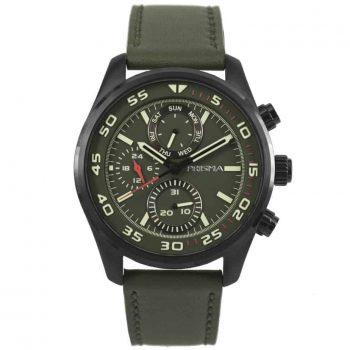 Prisma P1827 heren horloge chronograaf groen leer