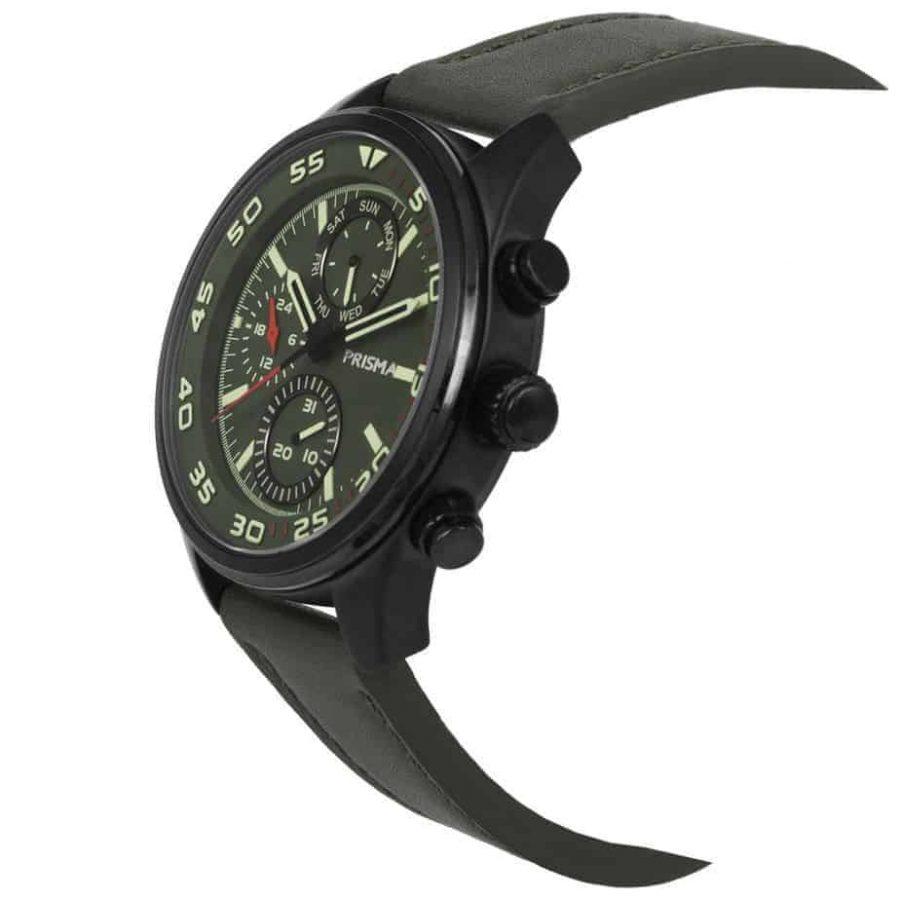 Prisma-P1827-heren-horloge-chronograaf-groen-leer-schuin-l