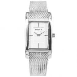 Prisma P1835 dames horloge milanees vierkant zilver Atone