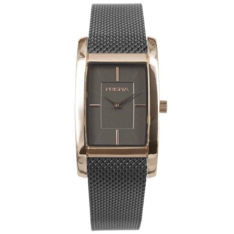 Prisma P1836 dames horloge milanees vierkant zwart rosegoud Atone