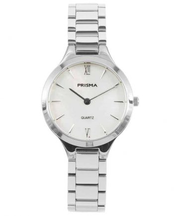 prisma p1460 dames horloge edelstaal zilver parelmoer