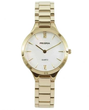 prisma p1462 dames horloge edelstaal goud parelmoer gold ladies watch nederlands horlogemerk