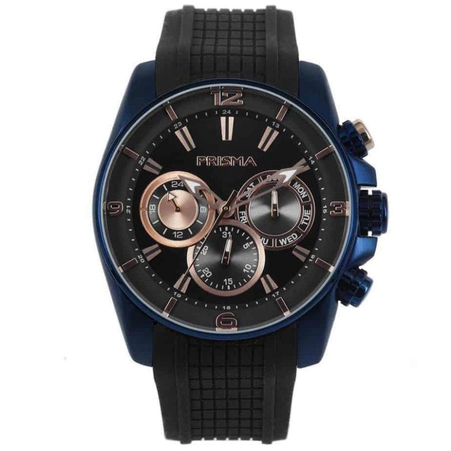 prisma p1597 heren horloge edelstaal blauw rosegoud traveller dive