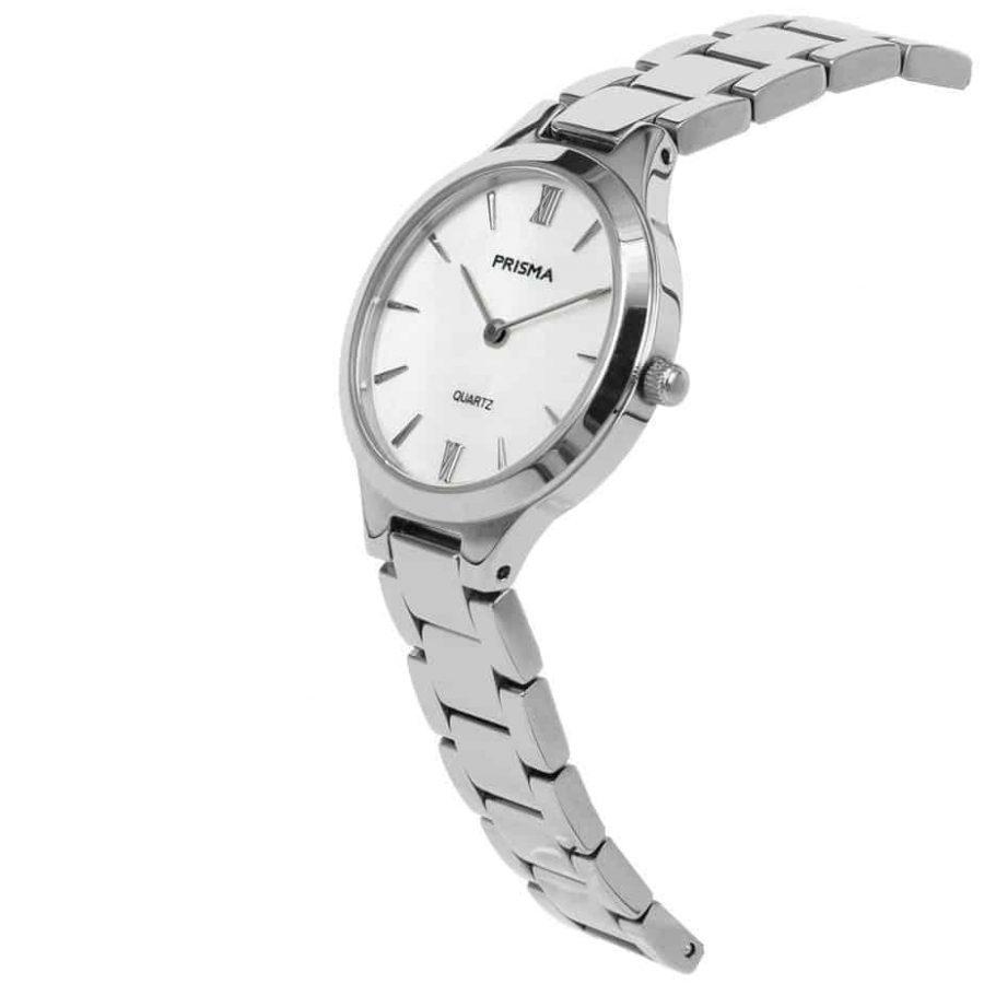 Prisma P1460 dames horloge edelstaal zilver parelmoer schuin ladies watch