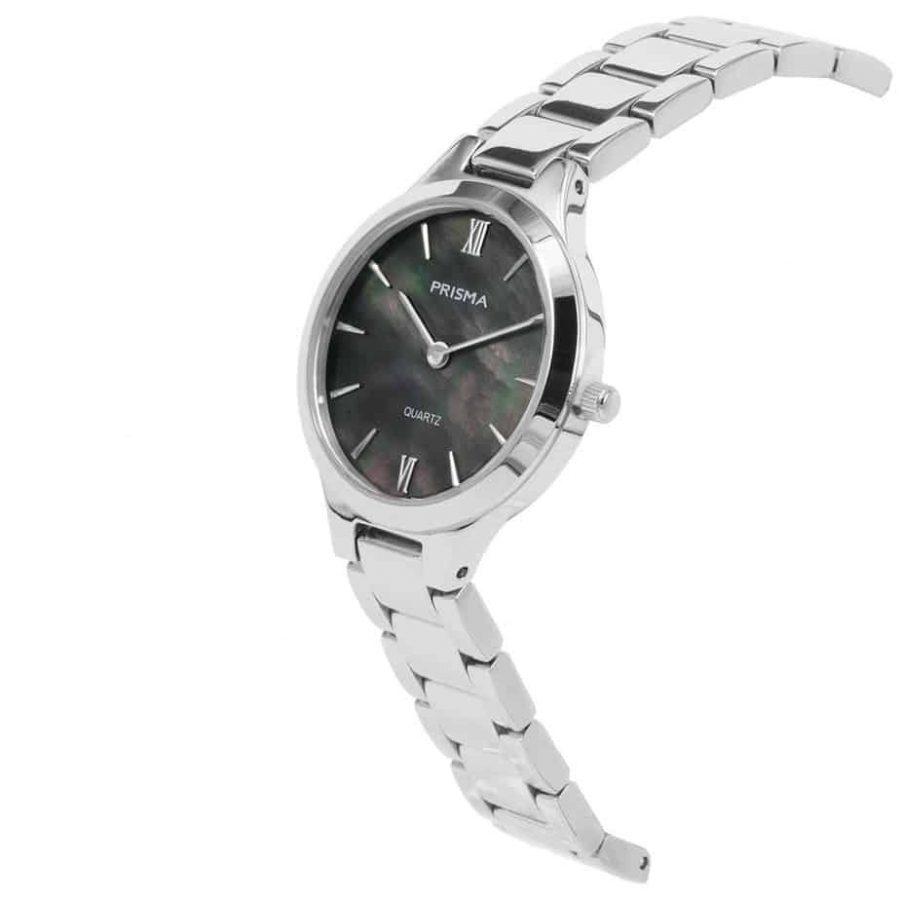 Prisma P1461 dames horloge edelstaal zilver parelmoer schuin ladies watch