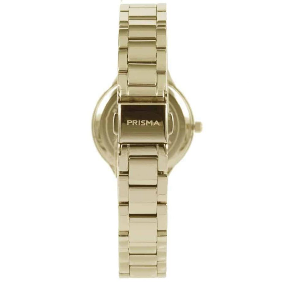 Prisma P1462 dames horloge edelstaal goud parelmoer schuin ladies watch