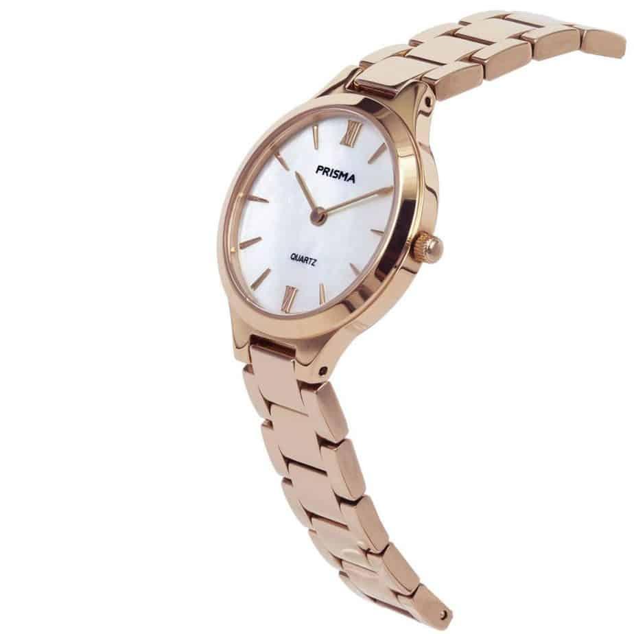 Prisma P1463 dames horloge edelstaal rosegoud parelmoer schuin ladies watch