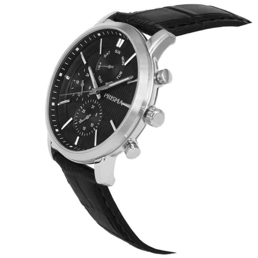 Prisma-P1579-heren-horloge-edelstaal-zwart-schuin
