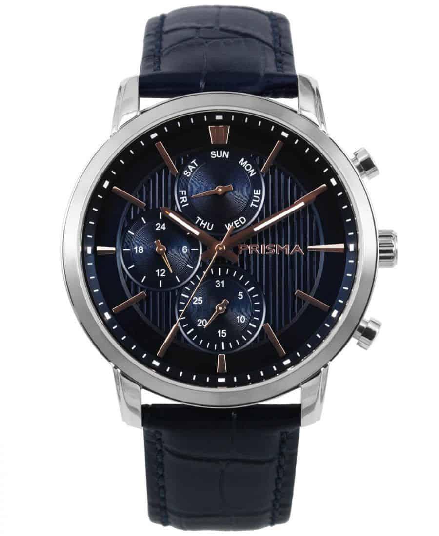 prisma p1589 heren horloge edelstaal blauw