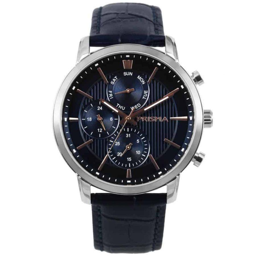 prisma 1589 heren horloge edelstaal blauw P.1589 refined watch