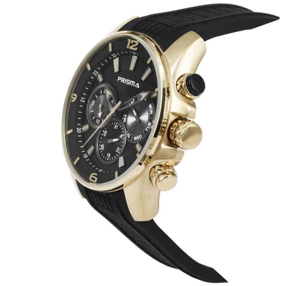 Prisma-P1594-heren-horloge-edelstaal-chronograaf-goud-schuin-l
