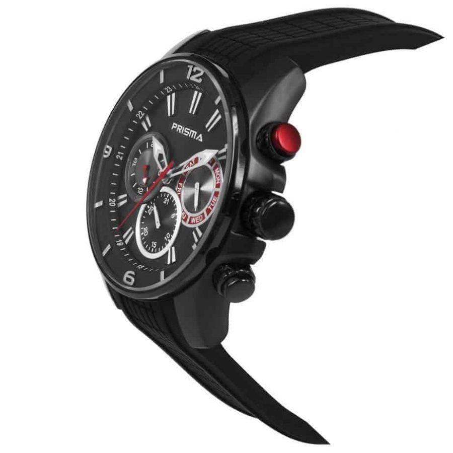 Prisma-P1596-heren-horloge-edelstaal-chronograaf-zwart-schuin-l