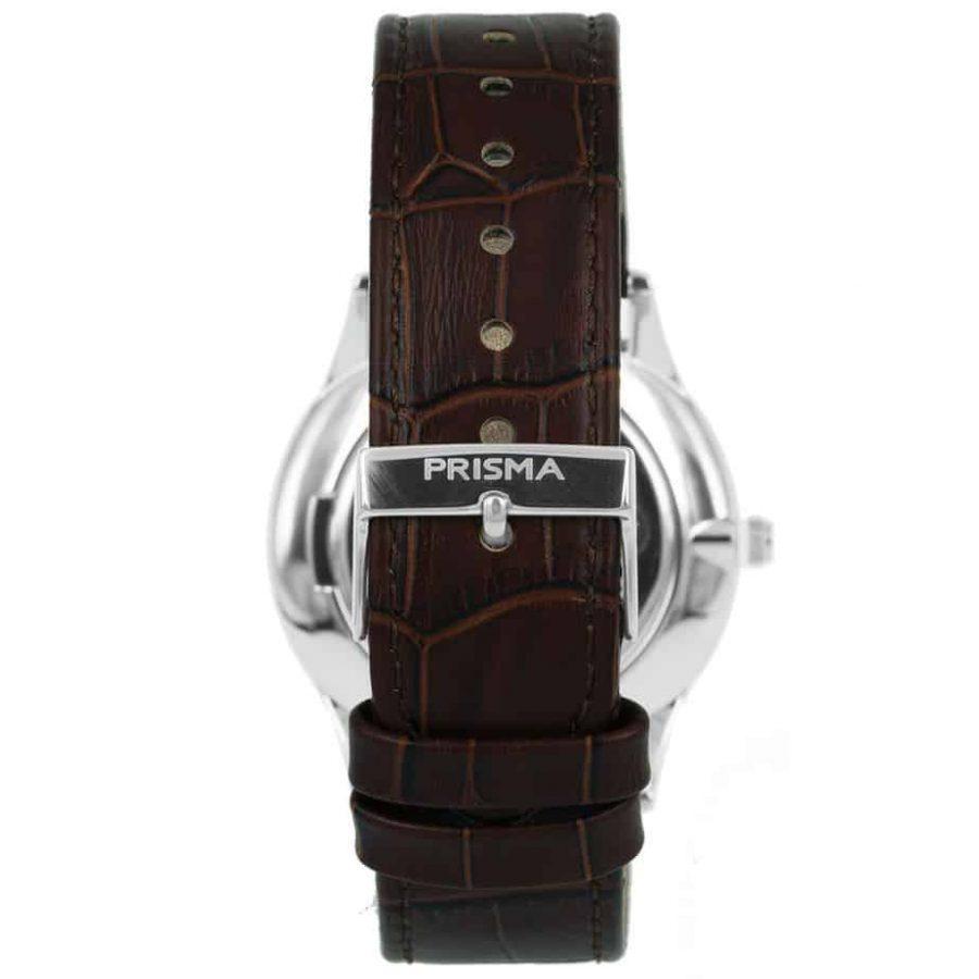 Prisma P1886 heren horloge slimline edelstaal zilver achterkant