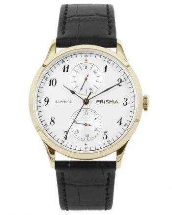 prisma p1901 heren horloge edelstaal goud datum horloges watches gold heren men dutch watch brand nederlands horlogemerk
