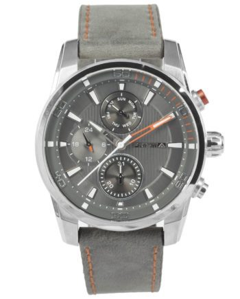 Prisma Multifunctional Watch Grey with leather strap grijs traveller time