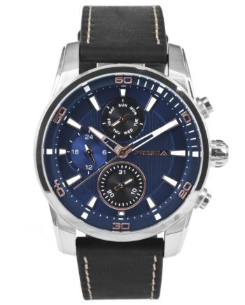Prisma Multifunctional Watch Blue Black with leather strap