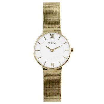 prisma p1455 dames horloge edelstaal gold goud dark