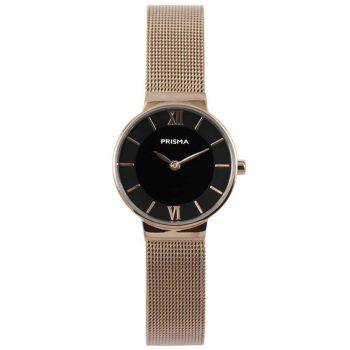 prisma p1456 dames horloge edelstaal rosegold dark