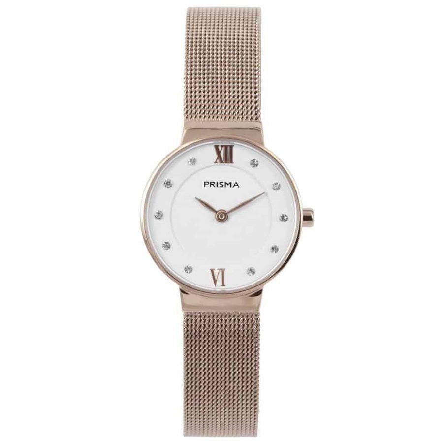 prisma p1458 dames horloge edelstaal rosegold dark