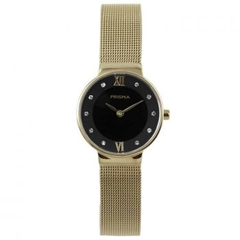 prisma p1459 dames horloge edelstaal gold dark goud