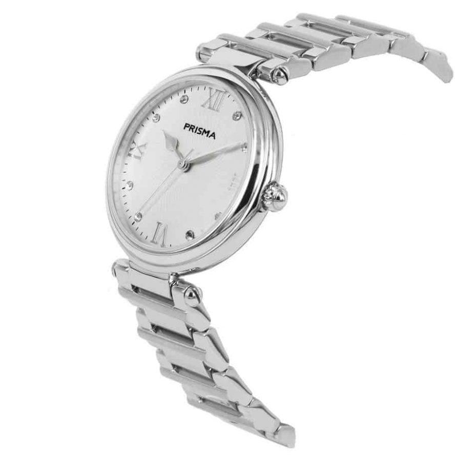 Prisma P1450 Dames horloge edelstaal zilver zwitsers schuin royal constant