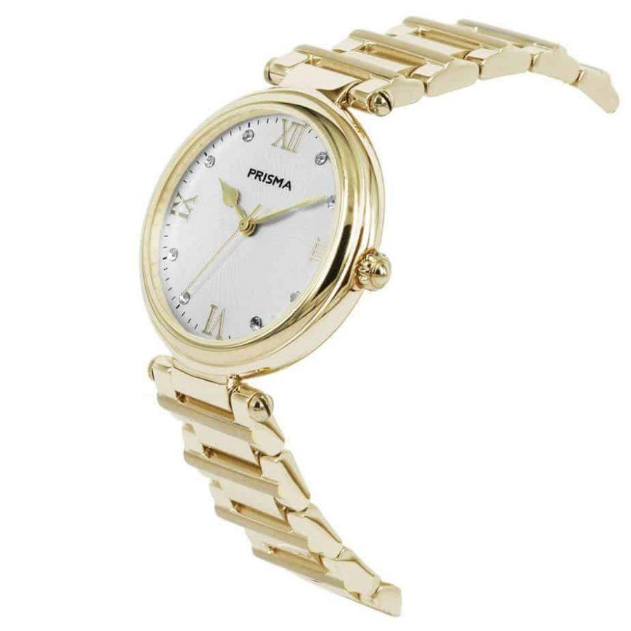 Prisma P1452 dames horloge edelstaal goud zwitsers royal constant gold watch schuin