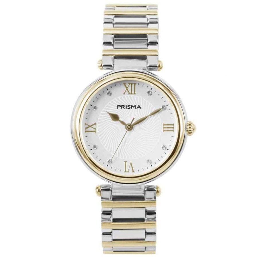 Prisma P1453 dames horloge edelstaal bicolor zwitsers royal constant bicolor watch