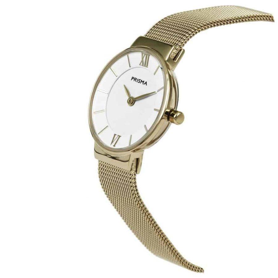 Prisma P1455 dames horloge milanees goud schuin