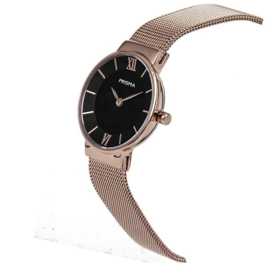 Prisma P1456 dames horloge milanees rosegoud schuin