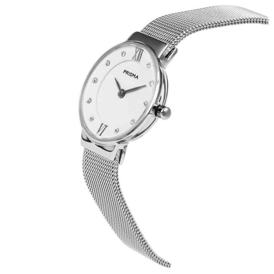 Prisma P1457 dames horloge edelstaal zilver schuin