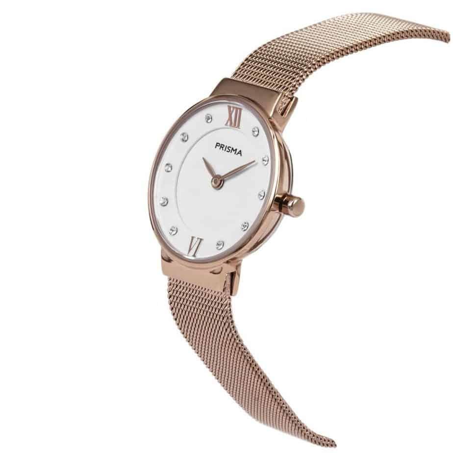 Prisma P1458 dames horloge edelstaal rosegoud schuin