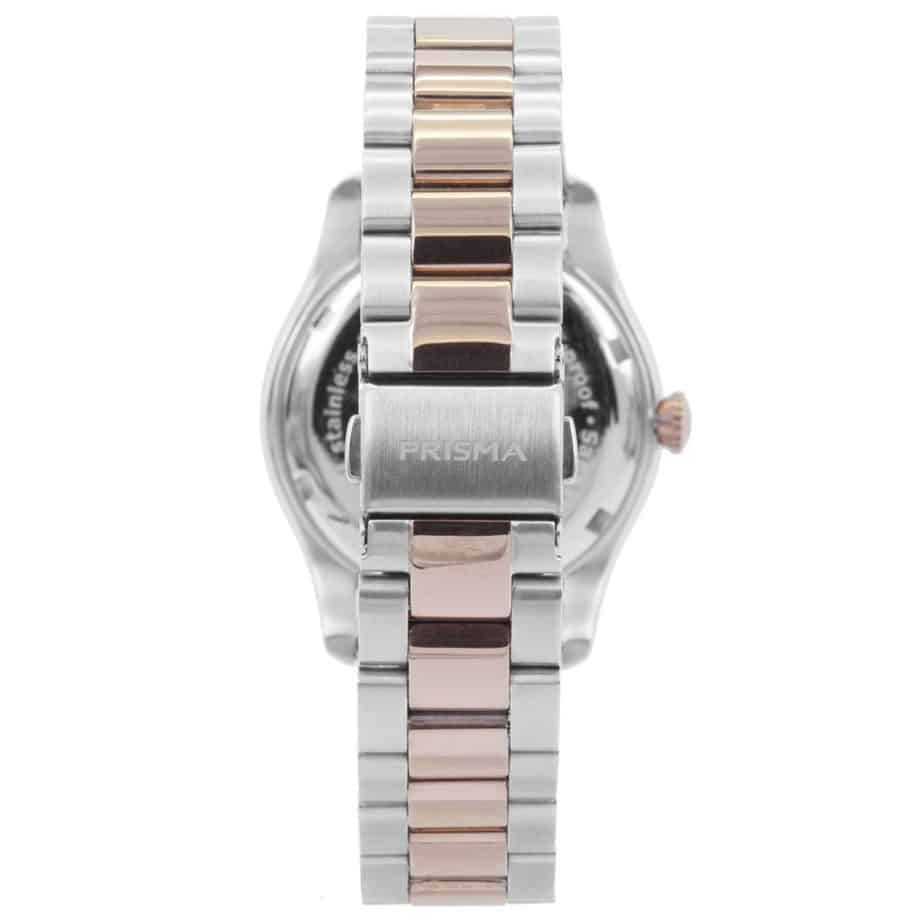 prisma p1891 dames horloge edelstaal bicolor achterkant
