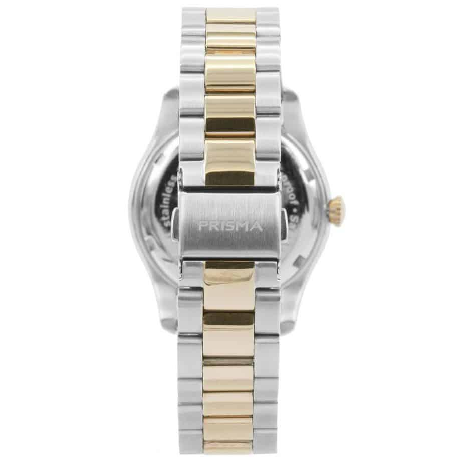 prisma p1892 dames horloge edelstaal bicolor achterkant