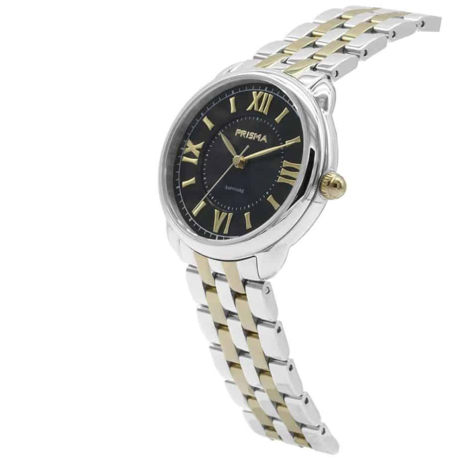 Prisma P1896 dames horloge edelstaal goud zwart schuin royal dainty gold