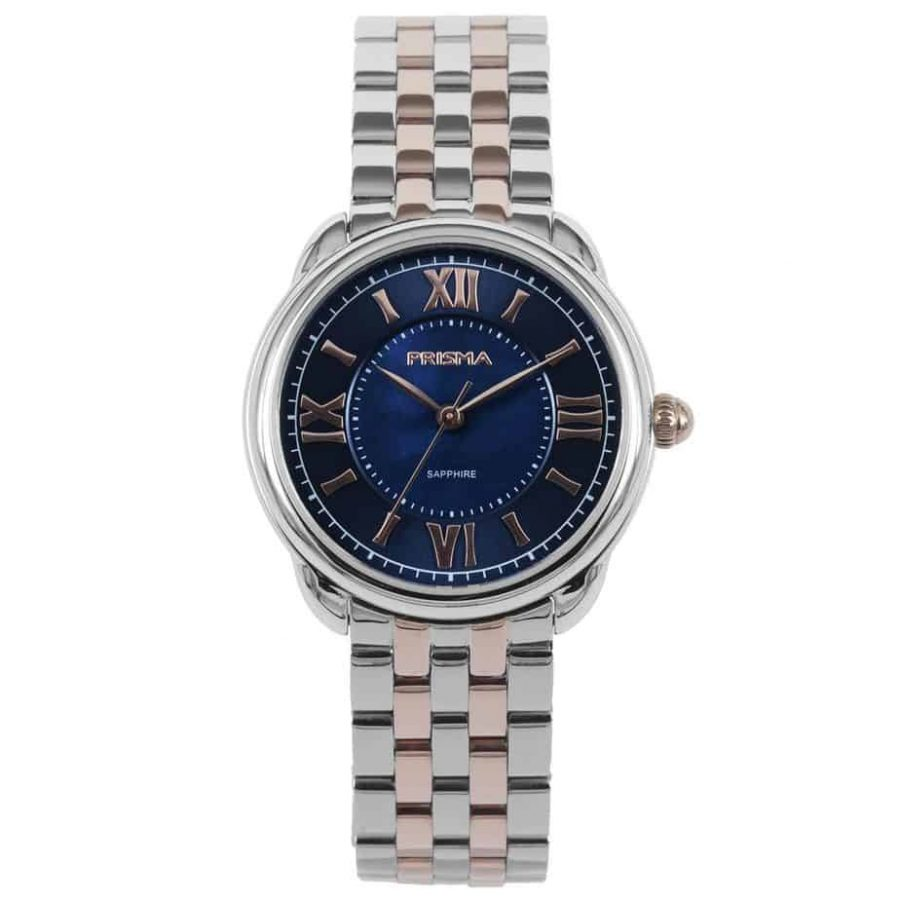 Prisma P1897 dames horloge edelstaal rosegoud blauw royal dainty blue