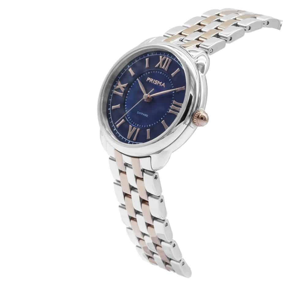 Prisma P1897 dames horloge edelstaal rosegoud blauw schuin royal dainty blue watch