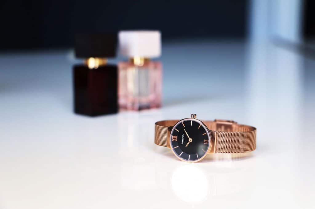prisma icon petit dameshorloge milanese horlogeband rosegold