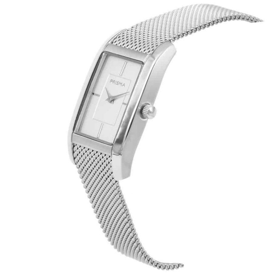 Prisma P1835 dames horloge milanees vierkant zilver schuin