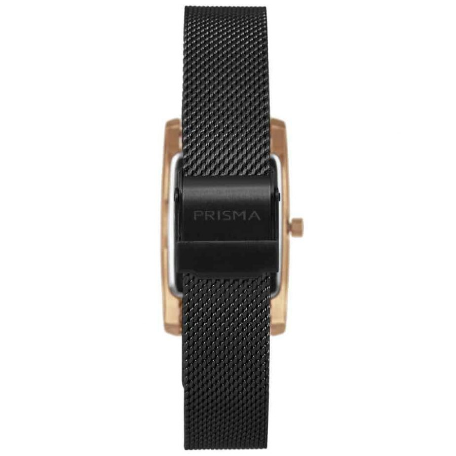 Prisma-P1836-dames-horloge-milanees-vierkant-zwart-rosegoud-achterkant