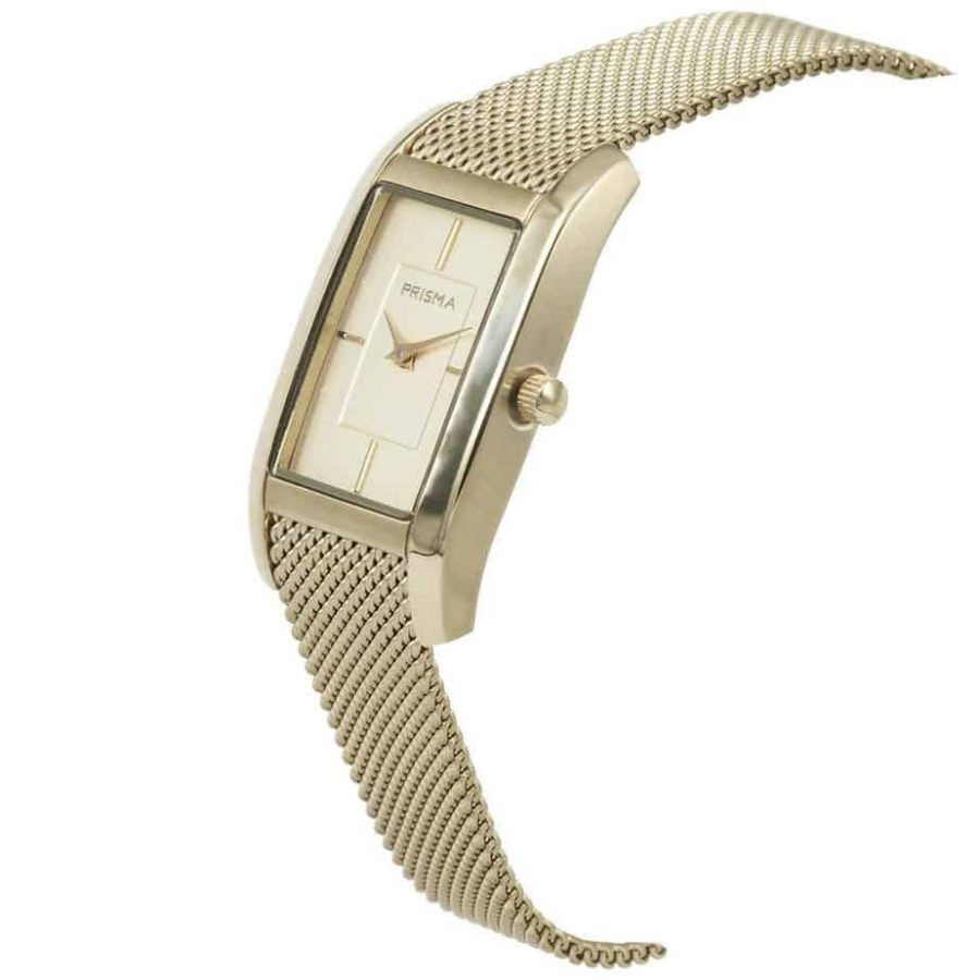 Prisma P1837 dames horloge milanees goud vierkant schuin